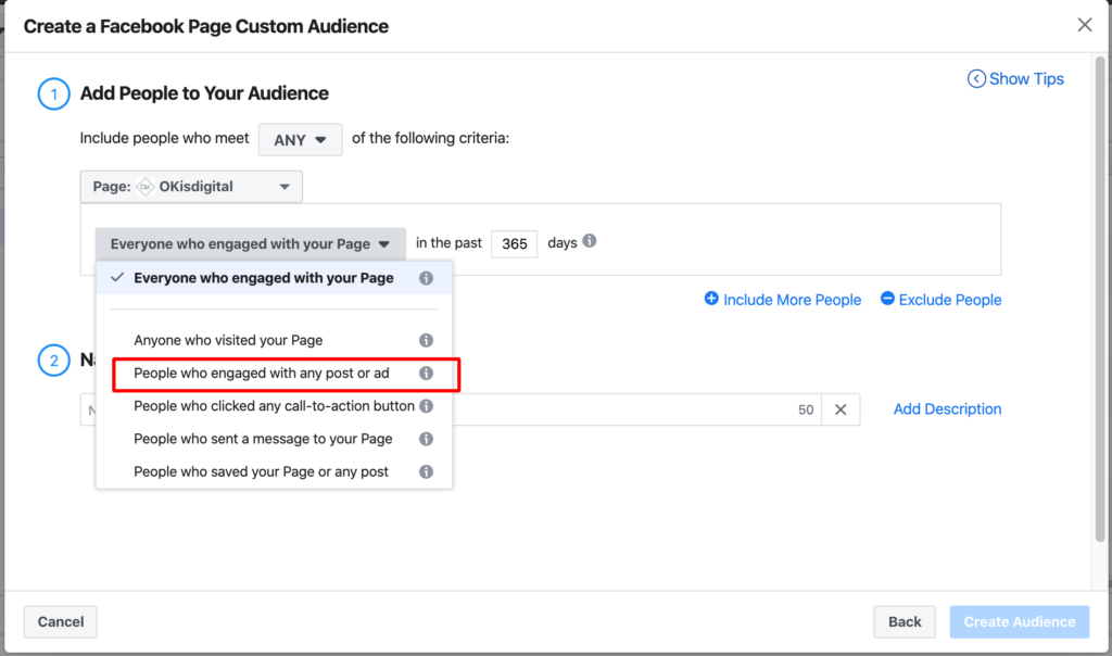 Facebook people who engaged with any post or ad